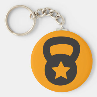 Kettlebell With An Empty Star Basic Round Button Key Ring
