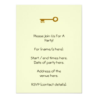 Key. Brown Key on Cream. Personalized Invites