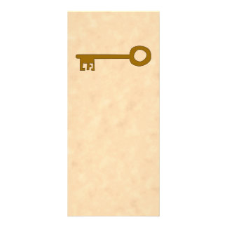 Key. Brown Key on Parchment Effect. Customized Rack Card