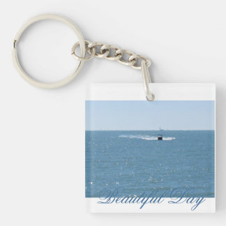 Key Chain. Beautiful Day Single-Sided Square Acrylic Key Ring