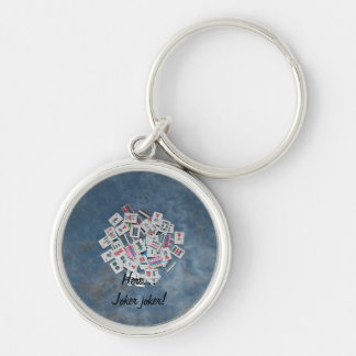 key chain-blue- here joker Silver-Colored round key ring