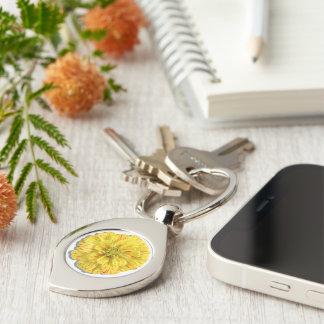 Key Chain - Candy Stripe Zinnia Silver-Colored Swirl Key Ring