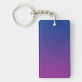 Key Chain: DARK BLUE PURPLE OMBRE Double-Sided Rectangular Acrylic Key Ring