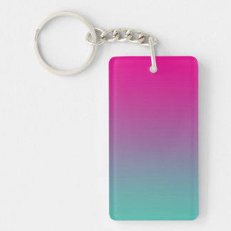 Key Chain: MAGENTA PURPLE TEAL OMBRE Double-Sided Rectangular Acrylic Key Ring