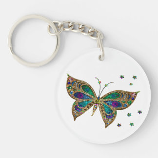 Key Chain--Mosaic Butterfly Double-Sided Round Acrylic Key Ring