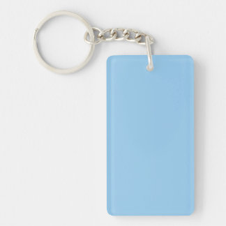 Key Chain: PALE BLUE COLOR Double-Sided Rectangular Acrylic Key Ring