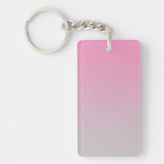 Key Chain: PINK GRAY OMBRE Double-Sided Rectangular Acrylic Key Ring