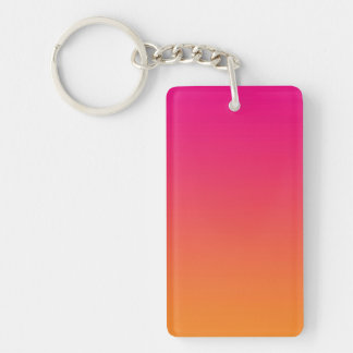 Key Chain: PINK ORANGE OMBRE Double-Sided Rectangular Acrylic Key Ring