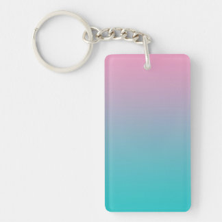 Key Chain: PINK TURQUOISE OMBRE Double-Sided Rectangular Acrylic Key Ring