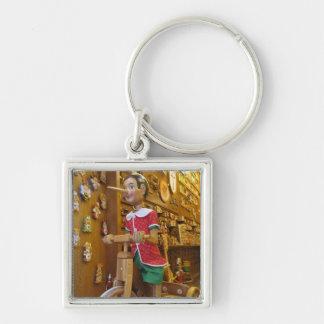 Key Chain--Pinocchio Doll Silver-Colored Square Key Ring