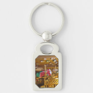 Key Chain--Pinocchio Silver-Colored Rectangle Key Ring