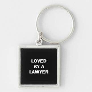 Key chain: Premium/square: Loved by a lawyer Silver-Colored Square Key Ring