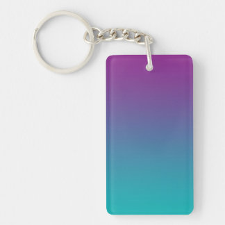 Key Chain: PURPLE AND TEAL OMBRE Double-Sided Rectangular Acrylic Key Ring