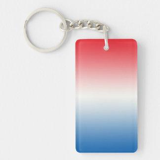 Key Chain: RED WHITE BLUE OMBRE Double-Sided Rectangular Acrylic Key Ring