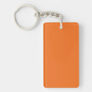 Key Chain: TANGERINE ORANGE Double-Sided Rectangular Acrylic Key Ring