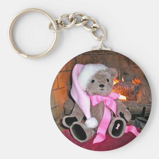 Key chain Teddy Bear Pink Santa Hat & pink ribbon