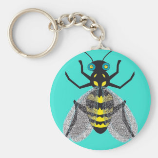 Key Chain with Colorful Bee Art
