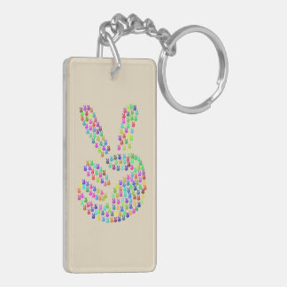 Key Chain with Peace Sign Colourful