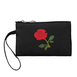 Key coin clutch with red rose bloom coin purse