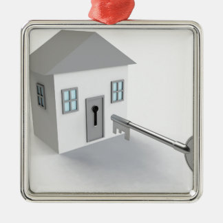 Key Home, Real Estate Agent, Selling Silver-Colored Square Decoration