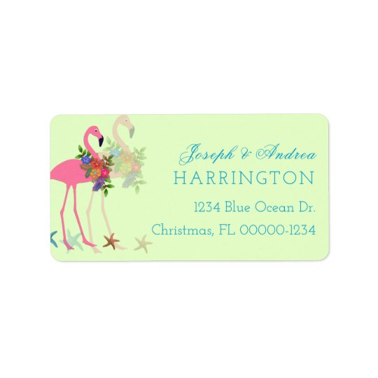Key Lime Flamingos Christmas Address Labels