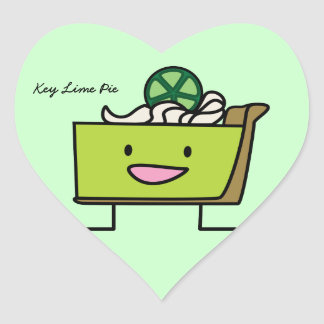 Key Lime Pie American dessert slice graham crust Heart Sticker