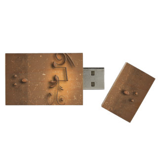 Key notes and floral elements wood USB 2.0 flash drive