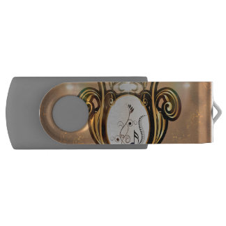Key notes with floral elements on amazing shield swivel USB 2.0 flash drive