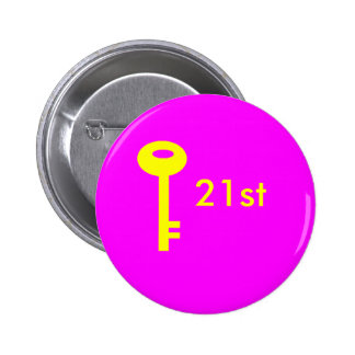 key pink, 21st 6 cm round badge