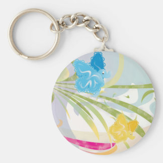 Key Ring - Butterflies & Nature Vector Design Basic Round Button Key Ring