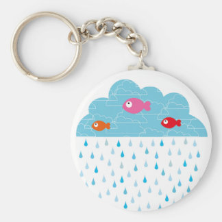 """Key-ring """"fish in the clouds """" basic round button key ring"""