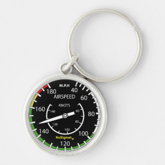 "Key-ring instrument plane: ""Anemometer "" Silver-Colored Round Key Ring"