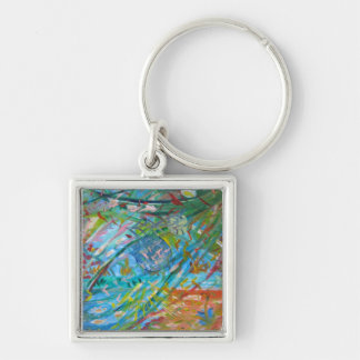 Key ring - Marine life Silver-Colored Square Key Ring