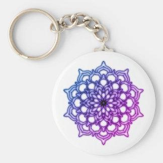 Key-ring Mauve Mandala Fleur Blue Key Ring