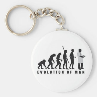 Key ring of evolution of the man to doctor basic round button key ring