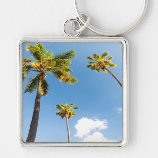 Key-ring Palm trees Silver-Colored Square Key Ring