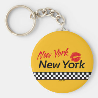 Key-ring Taxi NY & Red KIS Basic Round Button Key Ring