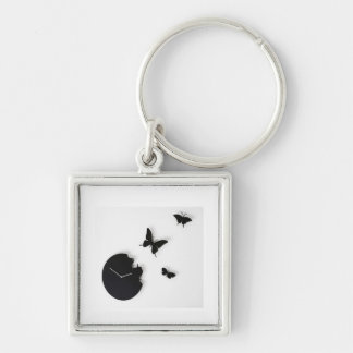 key ring with butterfly Silver-Colored square key ring