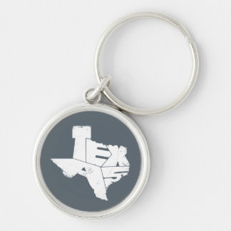 Key Ring with Texas State Map in Blue Lettering Silver-Colored Round Key Ring