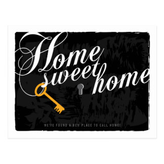 Key Stylish Elegant Black New Address Postcard