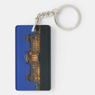 Key supporter Berlin Reichstag in the evening Double-Sided Rectangular Acrylic Key Ring