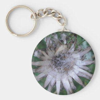Key supporter star shaped straw flower basic round button key ring