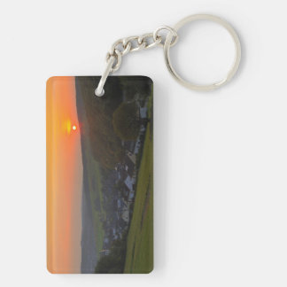 Key supporter sunset in the low mountain range Double-Sided rectangular acrylic key ring