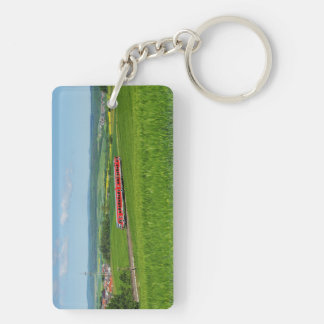 Key supporter tramcar in the Ederbergland Double-Sided Rectangular Acrylic Key Ring