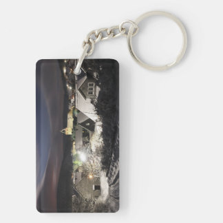 Key supporter village in the winter Double-Sided rectangular acrylic key ring