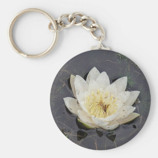 Key supporter white sea-rose bloom key ring