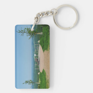 Key supporter winner country, depth red ago height Double-Sided rectangular acrylic key ring