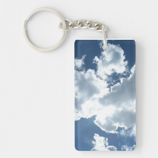 Key supporter with clouds rectangle acrylic keychain