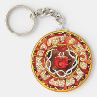 Key supporter with handpainted coffee Mandala Key Ring