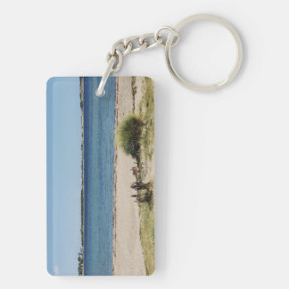 Key supporters beach and sea Double-Sided rectangular acrylic key ring